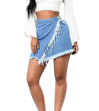 84fb2505d2 Women's High Waist Ripped Denim Wrap Mini Skirt with Tassel Asymmetrical Hem,Blue  Jeans Skirt