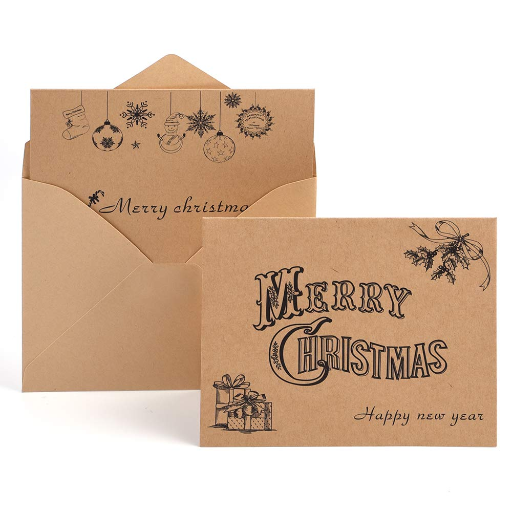 Kuuqa 36 Pieces Merry Christmas Greeting Notes Cards with 36 Envelopes and 36 Stickers