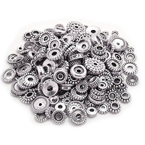 Designer Spacer Beads (100 Gram Bali Style Antique Tibetan Silver Findings Jewelry Making DIY Metal Alloy Spacer Beads Deluxe New Mix 200-260pcs)