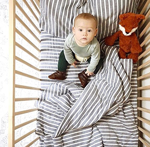 Henry and Bros. 3 Piece Crib Bedding Set - Super Soft, 100% Cotton - Premium-Quality Bedding Set for Baby Crib Dusty Rose and Cream Stripe (Navy) - Set Bedding Premium