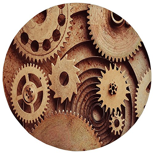 ,Industrial Decor,Inside The Clocks Theme Gears Mechanical Copper Device Steampunk Style Print,Cinnamon,Flannel Microfiber Non-slip Soft Absorbent,for Kitchen Floor Bathroom (Mechanical Copper Clock)