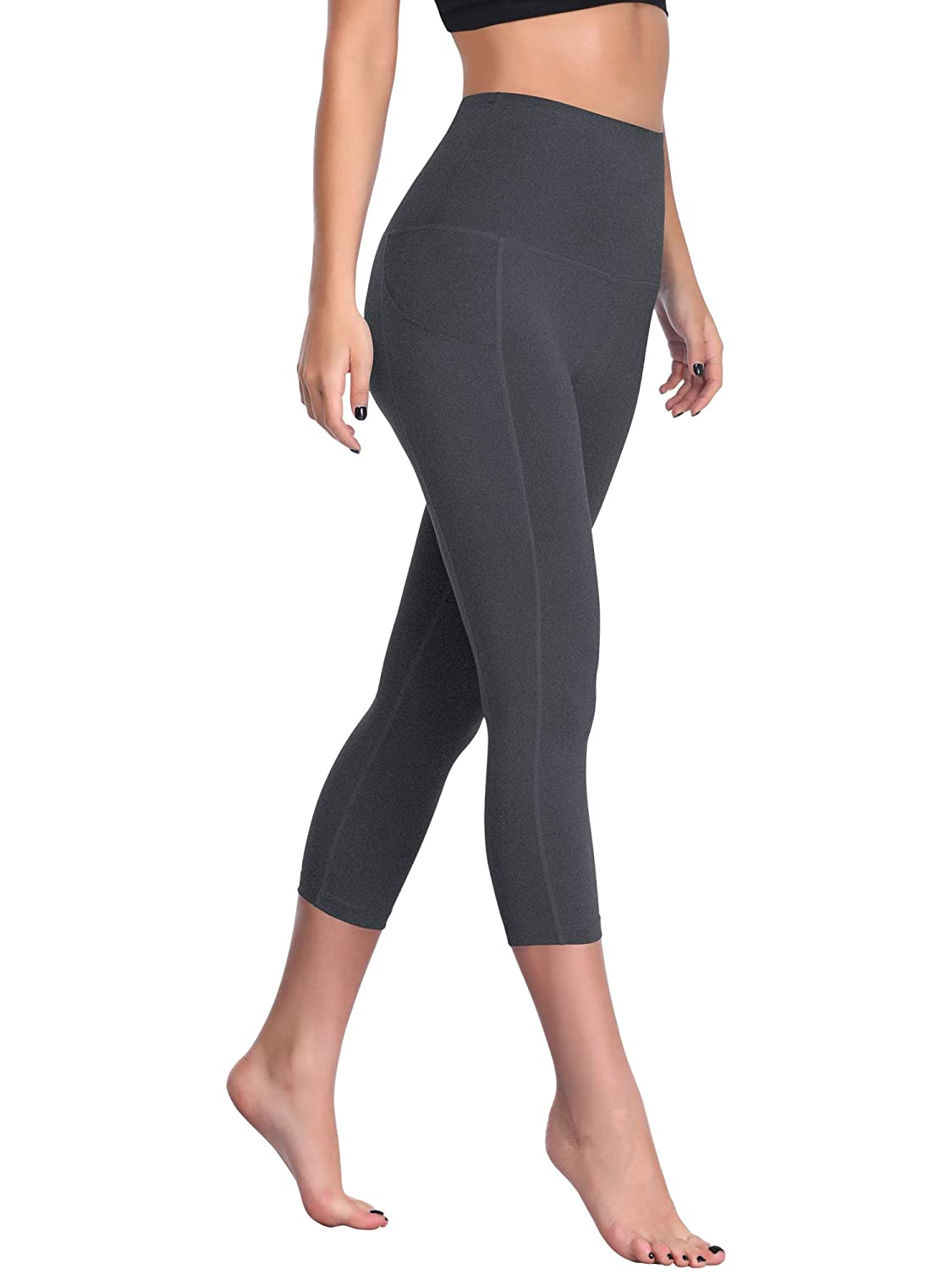 Cadmus Womens Leggings Capris High-Waist Yoga Pants w Side Pockets
