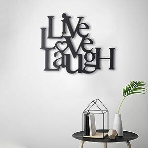 Tubibu Live Laugh Love metal wall art Metal Wall Word Sculpture, Wall Decor Wall Art (15.75