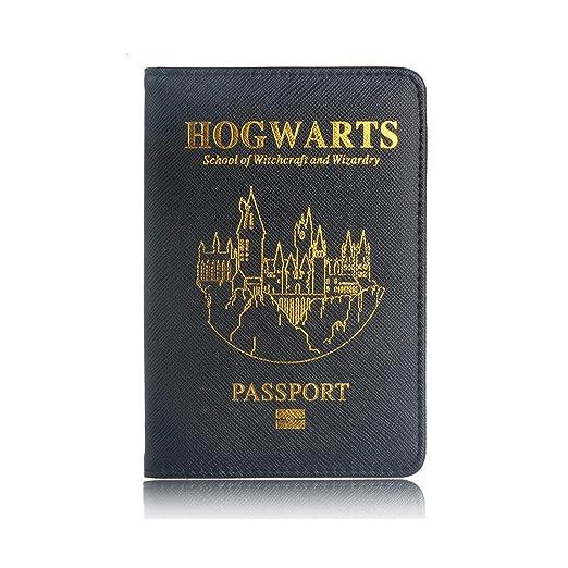 Harry Potter Reisepass Hülle, Reisepass Schutzhülle - Premium Kunstleder Reisepasshülle Halter mit RFID Blockier für Kreditka