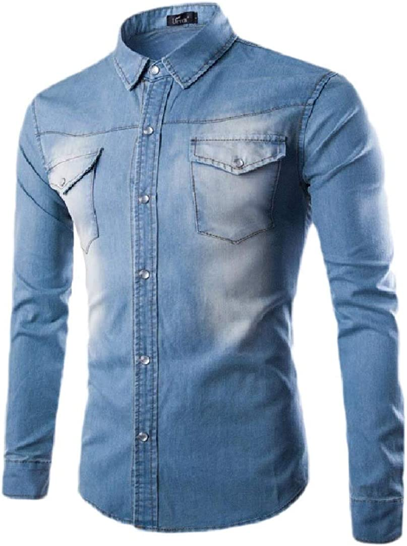Winwinus Mens Denim Simple Pocket Front Washed Plus Size Shirt Blouse Tops