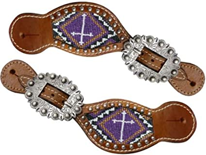 Showman Ladies Size Leather Spur Straps with TEAL beaded cross with large silver buckle