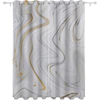 White and Black Hallucinatory Liquid Marble Decorative Hanging 2 Panel Set Printed Blackout Window Curtains for Bedroom Living Room Dining Room Window Drapes 54x84 Inch Curtain