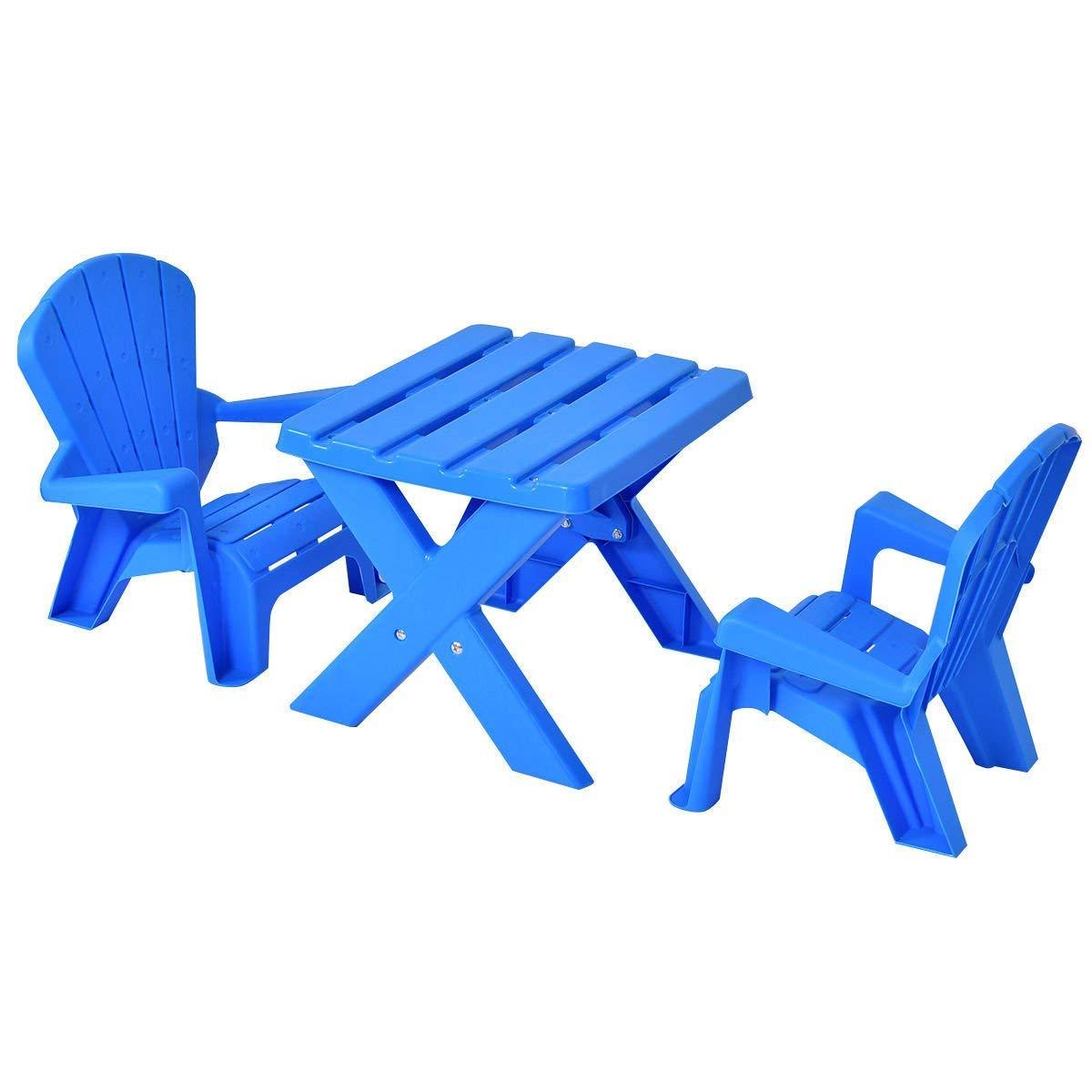 HONEY JOY Kids Plastic Table and 2 Chairs Set, Adirondack Chair, Patio Activity Craft Table Set (Blue) by HONEY JOY