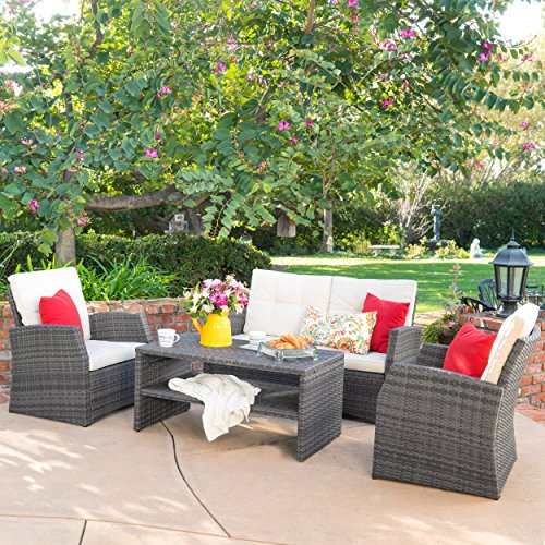 Christopher Knight Home Roswell Outdoor 4pcs PE Wicker Sofa Seating Set w/Cushions