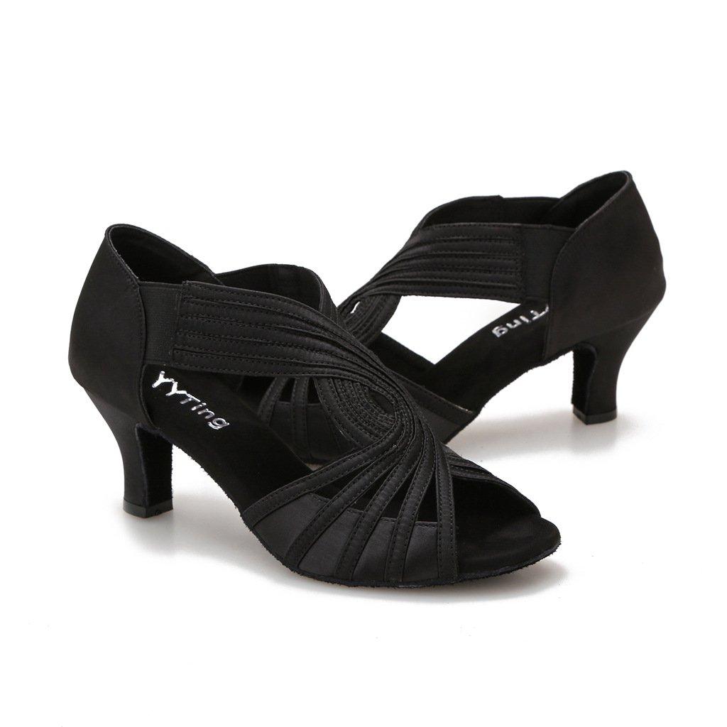 Ballroom Dance Shoes Women Latin Salsa Practice Dancer Shoes 2.5'' Heels YT02(9.5, Black) by YYTing