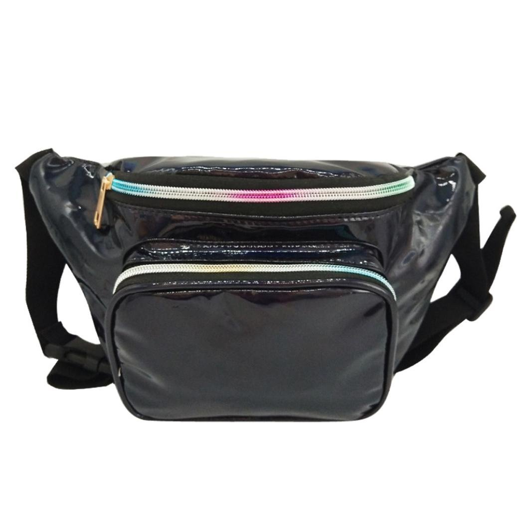 Inkach Waist Pack Bags - Fashion Womens Waterproof Leather Fanny Packs Outdoor Messenger Shoulder Chest Bag (Black)