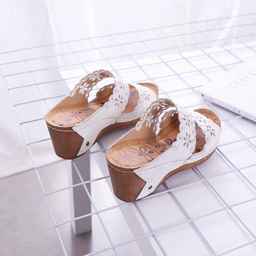 FengGa Womens Wedge Slippers Summer Fashion Casual Hollow Out High Heels Ladies Shoes Soft Thick Platforms Sandals