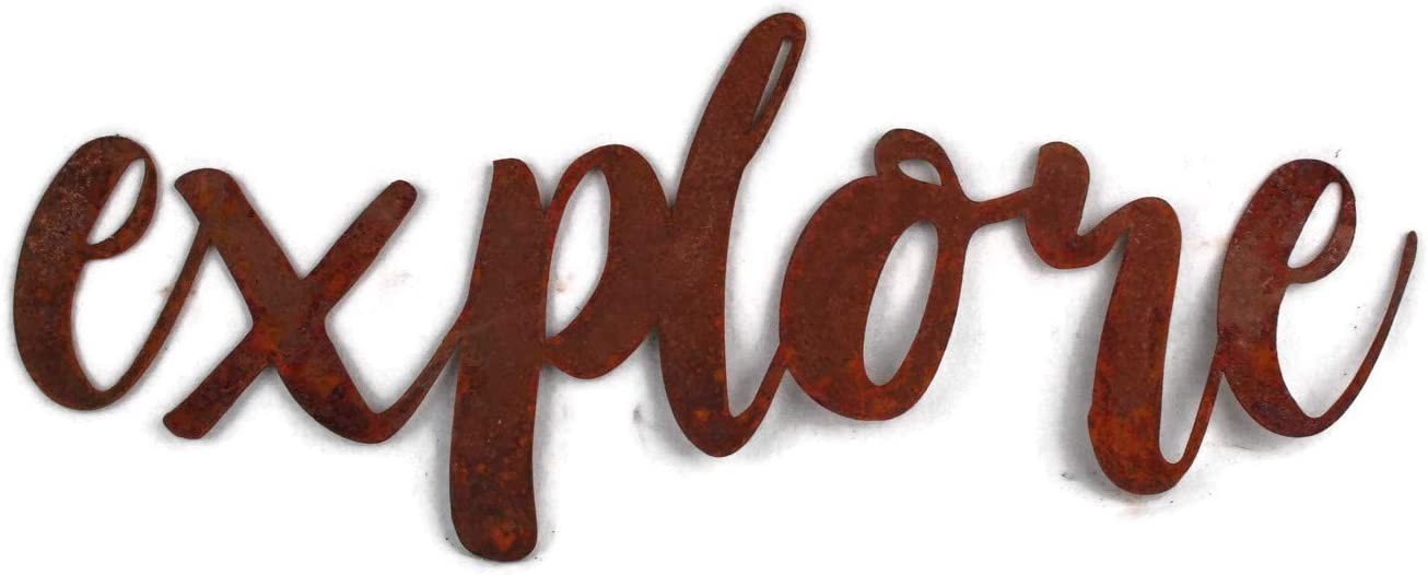 Naturally Rusted Steel Word Art - explore (Small)