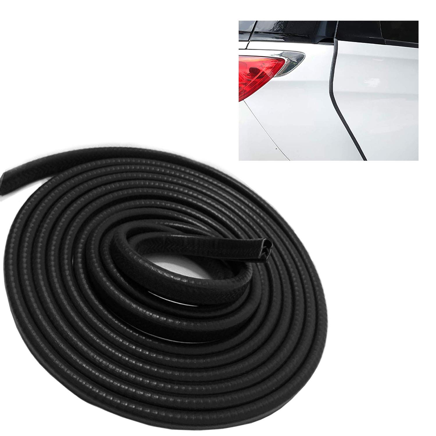 YIFAT 16Ft(5M) Car Door Edge Guards U Shape Edge Protector Guard Strip Rubber Seal Trim 5 M Car Protection Fit for Most Car