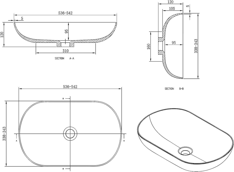 Blende f/ür Ablaufgarnitur:ohne zus/ätzl Zus/ätzl 54 x 34 x 12 cm Blende Aufsatzwaschbecken O-540 OCEAN aus Mineralguss im Vintage Stil
