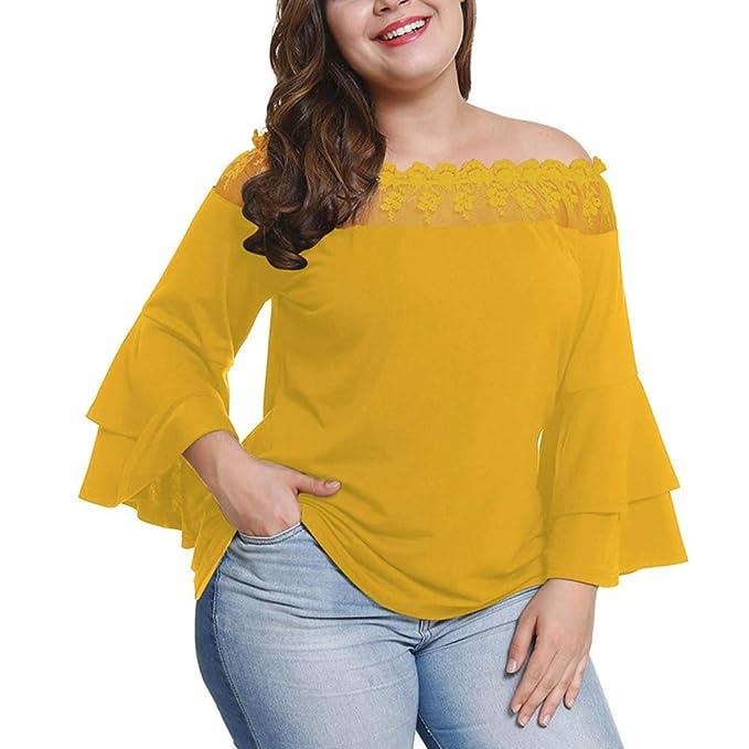 Lover-Beauty Camiseta Mujer Talla Grande Casual Otoño Blusa Un Hombro Encaje Manga Larga Suelto