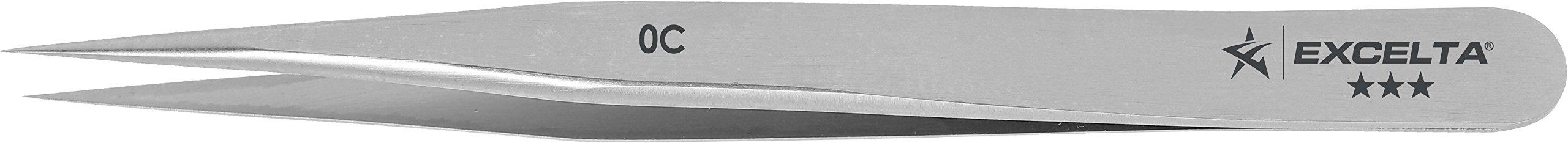 Excelta - 0C - Tweezers - Fine Point - Miniature - Straight -Three Star - Carbon Steel, 0.06'' Height, 0.29599999999999999'' Wide, 3.5'' Length