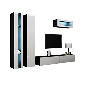 Wohnwand Vigo New II Anbauwand Design Mediawand Farbauswahl - Hangeschrank weib hochglanz wohnzimmer