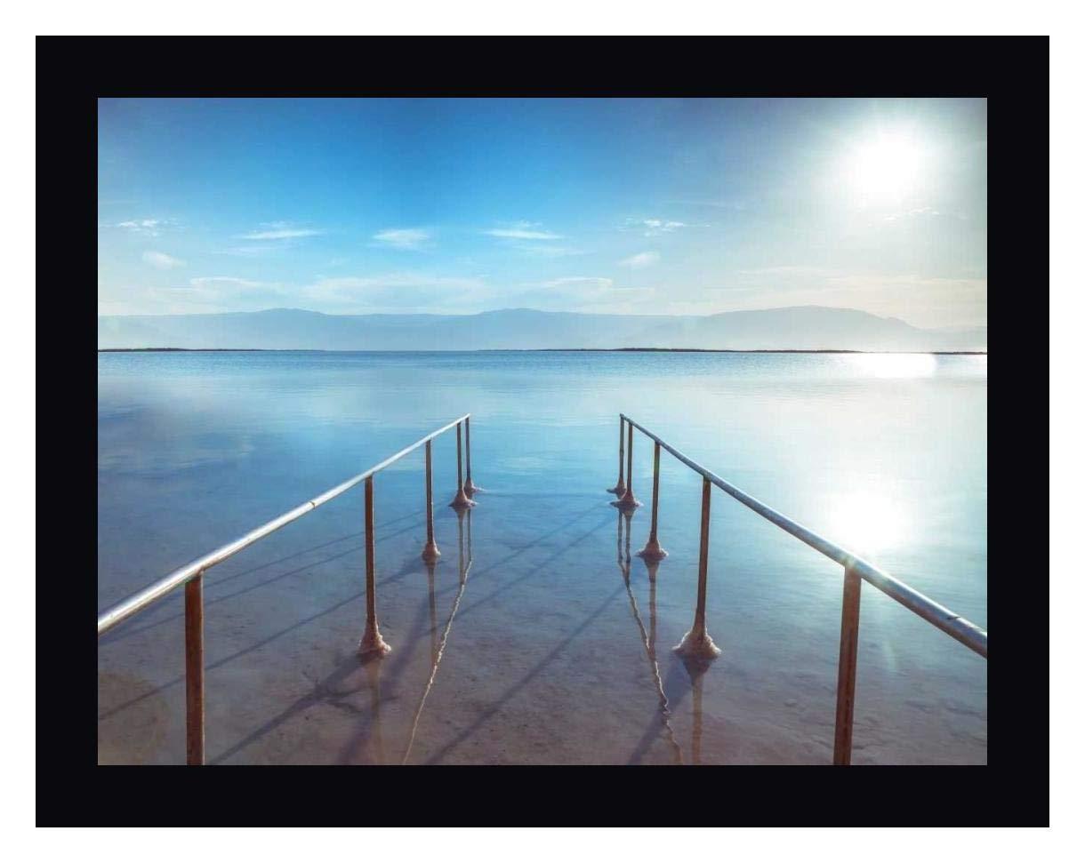 Peir on Dead Sea, Israel by Assaf Frank - 12'' x 15'' Black Framed Giclee Canvas Art Print - Ready to Hang by Canvas Art USA