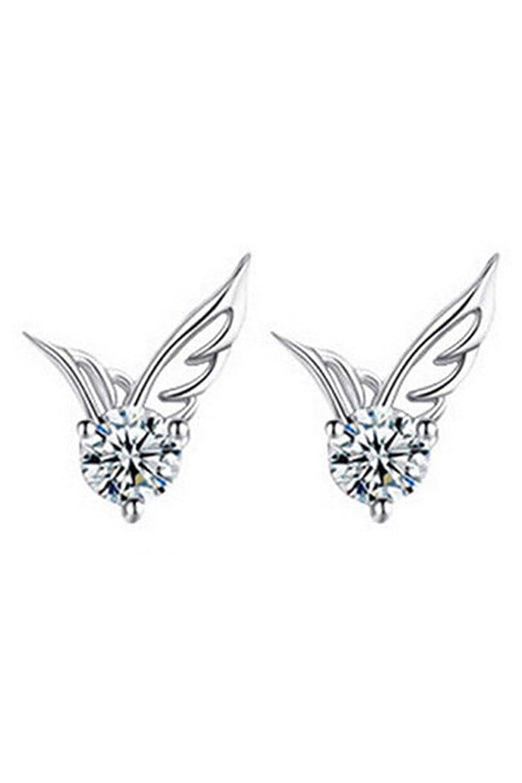 Boucles d'oreilles des Ailes d'ange - TOOGOO(R)Plaque Argent Ailes d'ange clous d'oreilles Boucles d'oreilles des Femmes 057423
