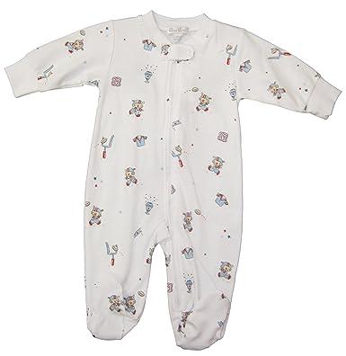 b5b8ca0eb96 Amazon.com  Kissy Kissy Baby-Boys Infant First Down Print Footie With  Zipper-Multicolored-Newborn  Clothing