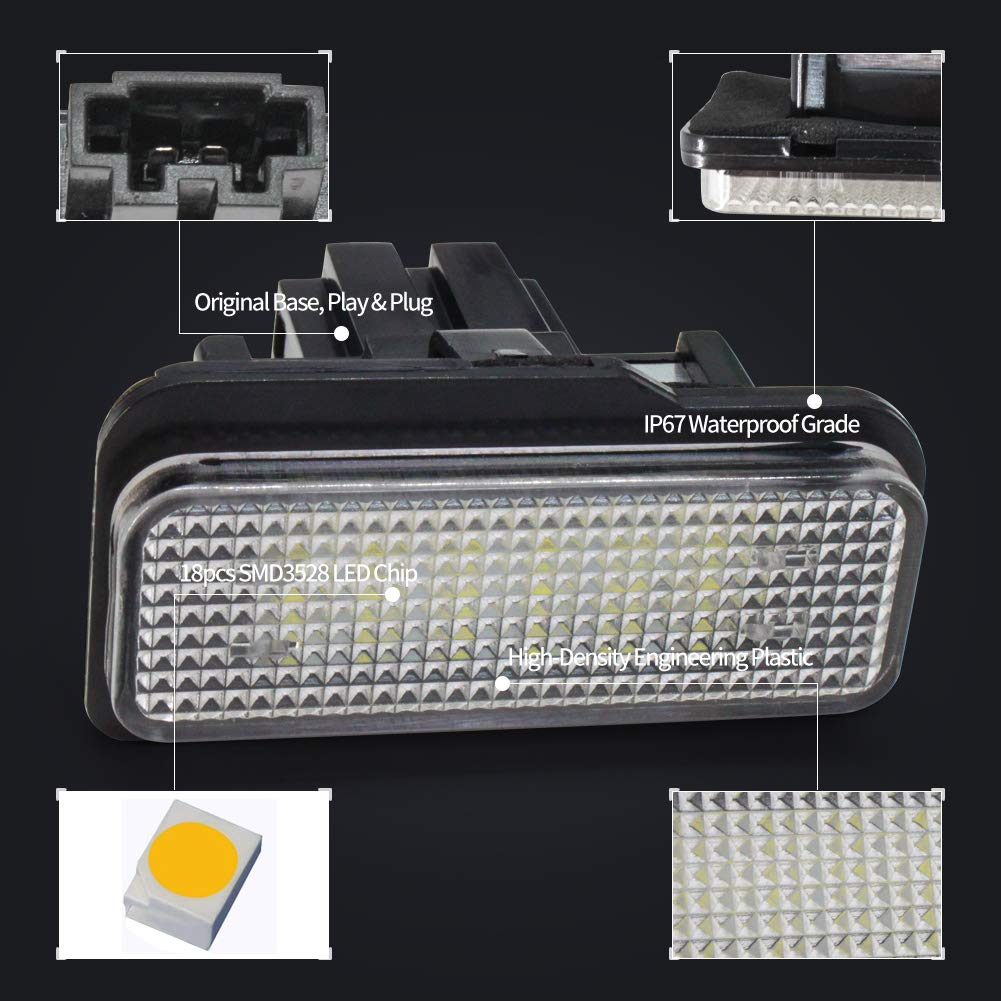 6 Series E63 E63N E64 Z4 E64N Pair B-M-W E87 License Number Plate Lights 24-SMD LED Free Error For 1 Series E81 E87 E87N E85 M6 E86
