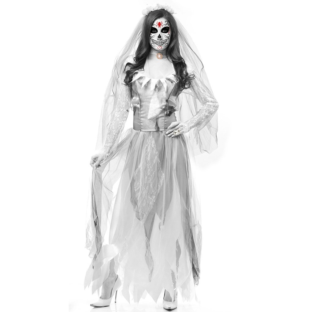 Masterein Halloween Dead Corpse Bride Costume Women Long Dress Scary Zombie Ghost Bridal Cosplay