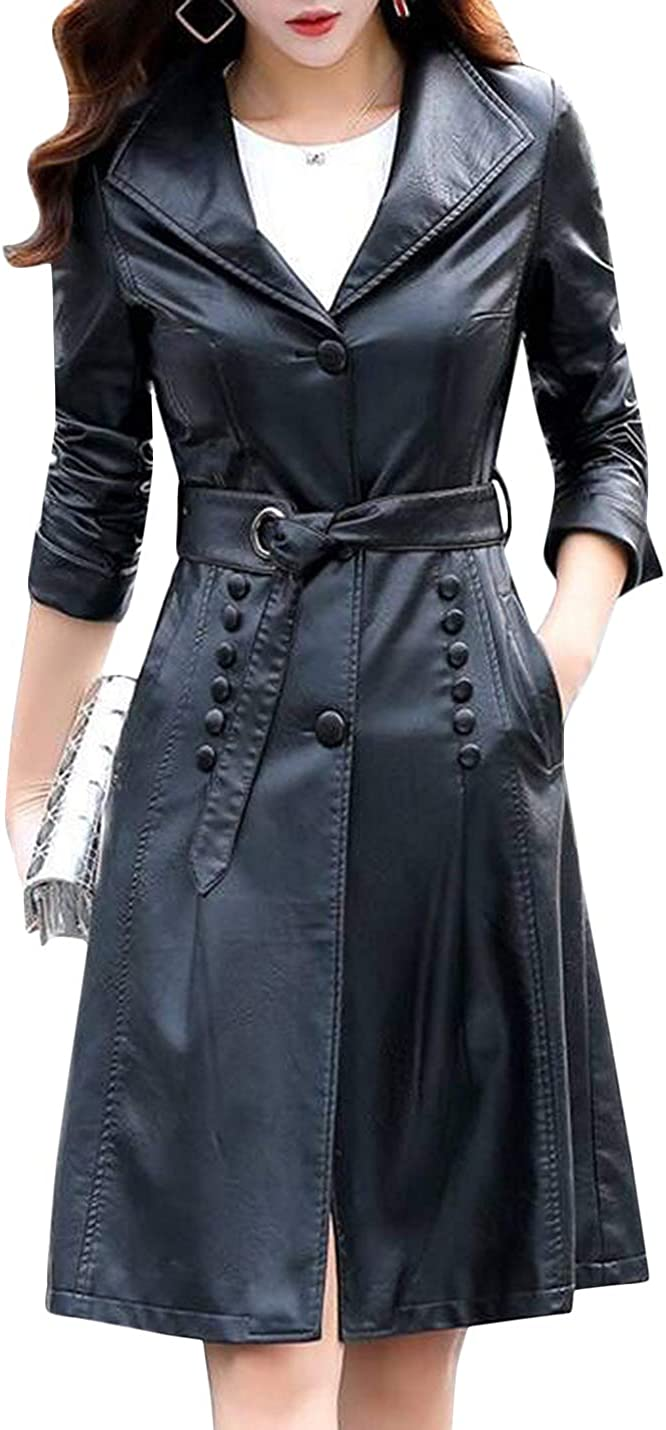 Tanming Womens Autumn Fashion Lapel Button Front Long Leather Jacket Trench Coat