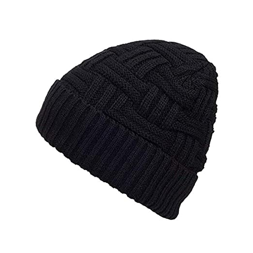 7319203444a Century Star Mens Winter Knitting Wool Warm Hat Daily Slouchy Hats Beanie  Skull Cap Black One