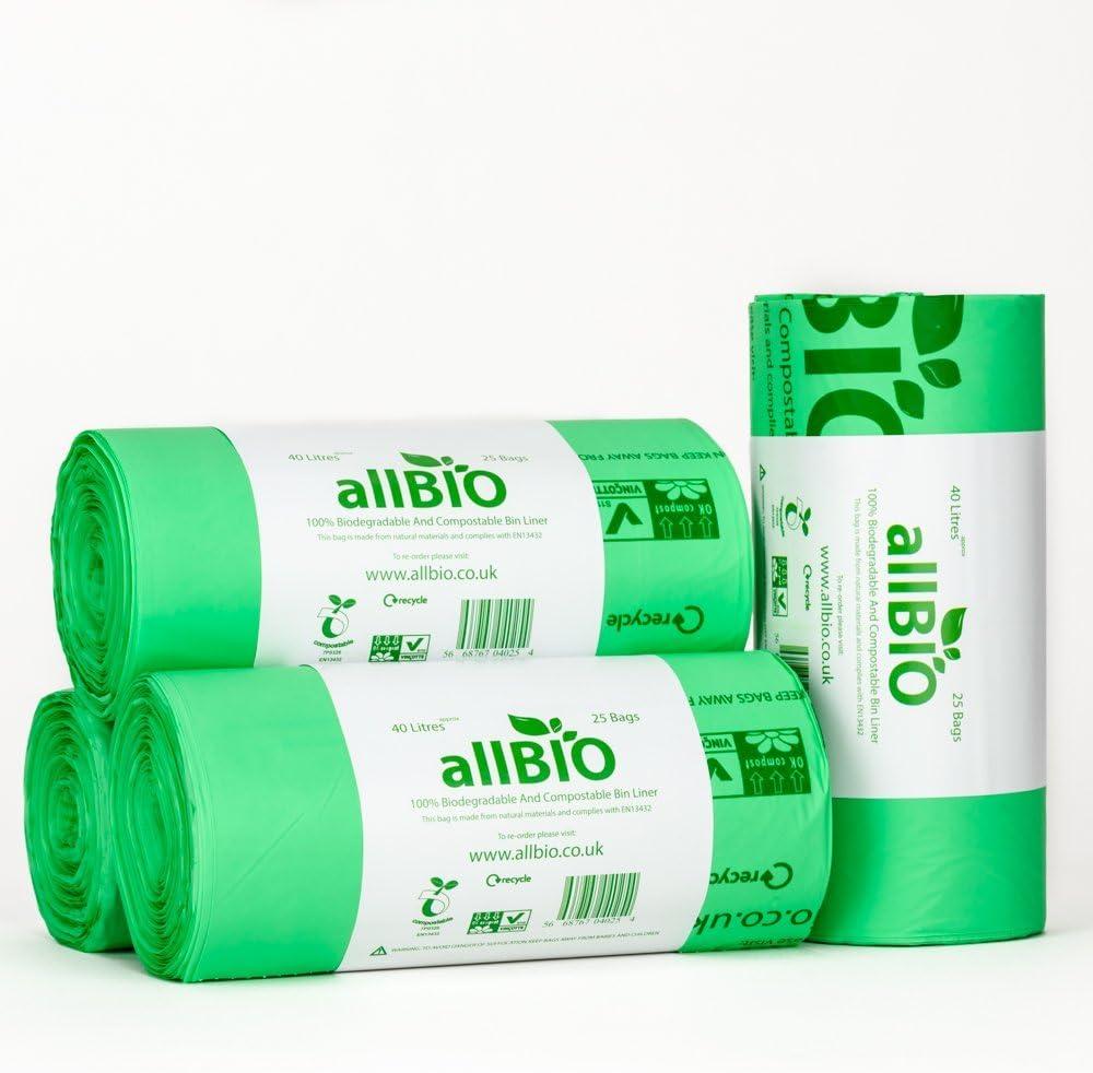 allBIO - Lote de 100 bolsas de basura de 40 litros (100 ...