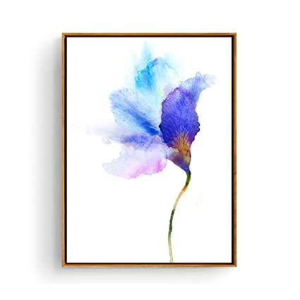 Hepix Watercolor Canvas Wall Art Blue Flowers Print Wall Paintings Abstract Simple Modern Home Decorations For Wall Decor 13x17inch Framed