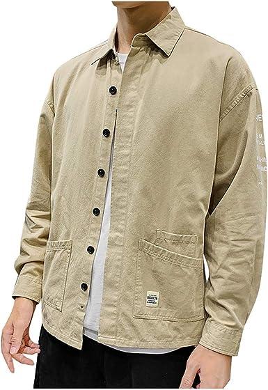 SoonerQuicker Camisa de Hombre Nuevos Hombre de Moda Casual Pocket Workwear Letter Print Solapa Tops de Manga Larga: Amazon.es: Ropa y accesorios
