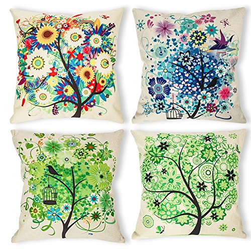 - laime Throw Pillow Covers Decorative Pillowcases 18x18inch (4 Pieces Set) Pillow Cases Home Car Decorative (Colorful Tree)