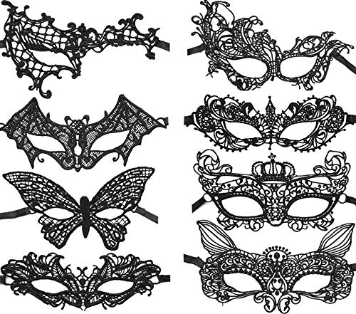 Sexy Lace Masquerade Mask Women Venetian Style Eye Mask for Halloween Carnival Party Prom Ball Fancy Costume (8 Pieces, Black) -