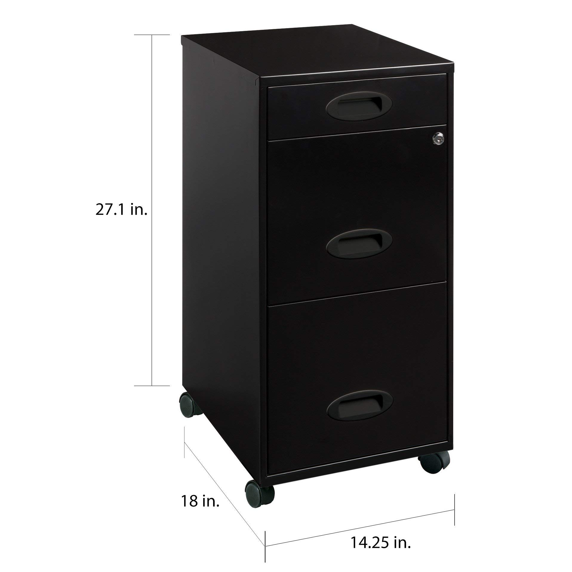 Mobile File Stand Cabinet with Casters and 3 Drawers, Portable Office Organizer,Home Office Work Station,Under Desk Storage Cart, Accent Modern Cart on Wheels,Black by Nova Natural (Image #2)