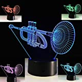 Musical Instruments 3D Trumpet Night Light Touch Switch Decor Table Desk Optical Illusion Lamps 7 Color Changing Lights LED Table Lamp Xmas Home Love Brithday Children Kids Decor Toy Gift