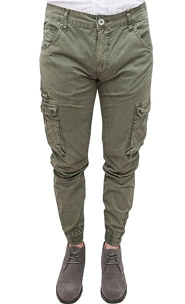 339b7acdfaa3f3 Evoga Pantaloni Uomo Cargo Verde Militare Slim Fit Casual con tasconi  Laterali (50)