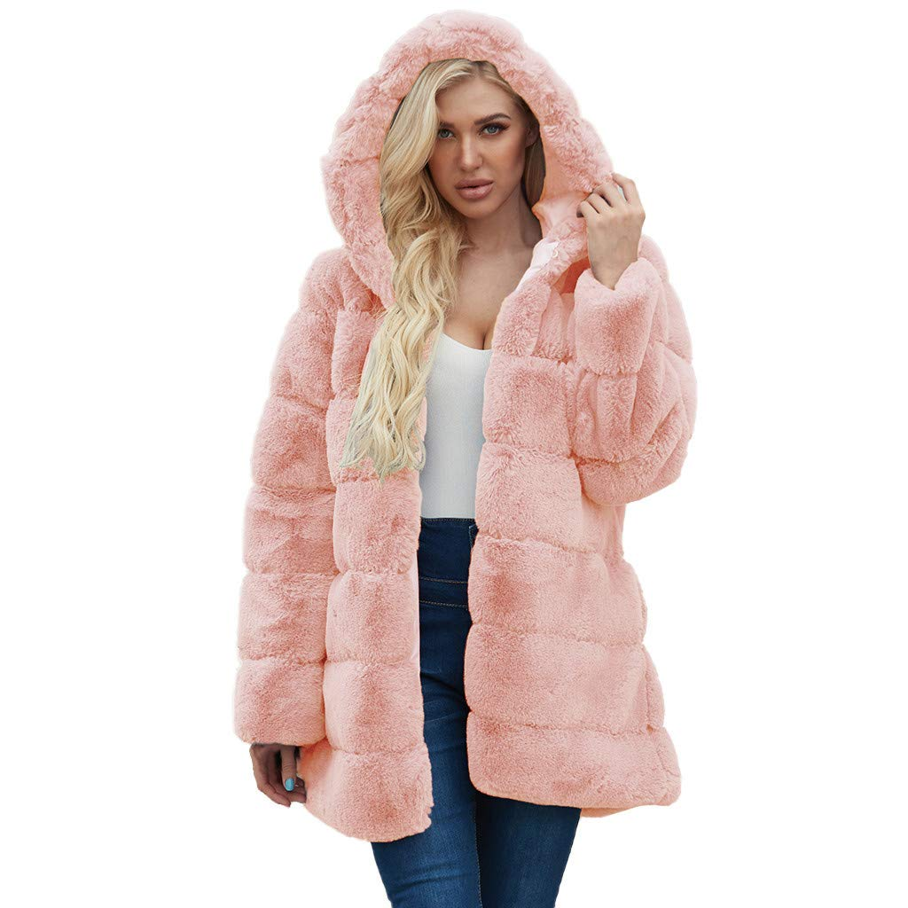 Han1dsome coat Women's Thick Faux Fur Big Hooded Parka Warm Long Overcoat Peacoat Winter Coats Jackets Pink by Han1dsome coat