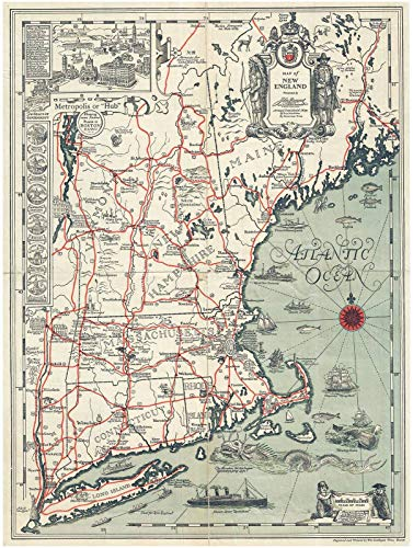 Pictorial Map - Historical 1928 Griswold Tyng Pictorial Map of New England |18 x 24 Fine Art Print | Antique Vintage Map