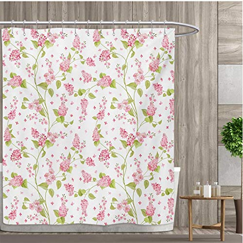 smallfly Shabby Chic Patterned Shower Curtain Nature Blossoms Buds Flowers Lavenders Florals Leaves Ivy Artwork Shower Curtain Collection by 66