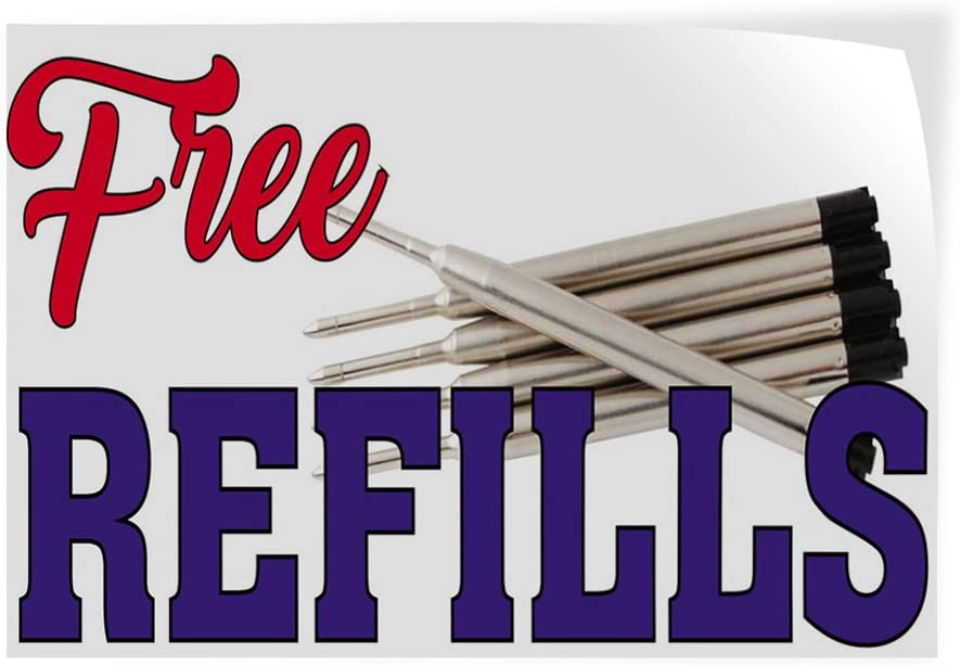 64inx42in Set of 2 Decal Sticker Multiple Sizes Free Refills #1 Business Free Refills Outdoor Store Sign Red