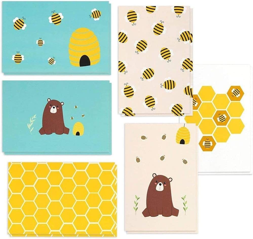 Illustrated Blank Flat Note Cards Note Card Set Of 6 Notecards Letter Writing Pack Of Cards Just a Note To Say Thank You Notecards