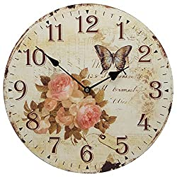 13 Wall Clock with Roses Flower and Butterfly Rustic Prints