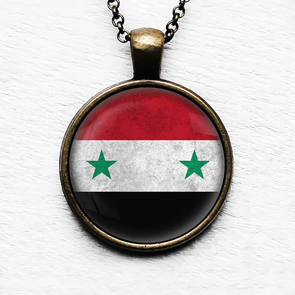 Silver Toned Etched Syria Flag Pendant Oval Trinket Jewelry Box