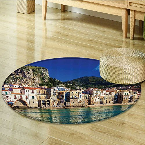 - Nalahomeqq Wanderlust Decor Collection Cozy Old Houses in the Port of Cefalu Sicily Mediterranean Seaside Mountain Seascape Print Polyester Fabric Room Circle carpet Teal-Diameter 80cm(32