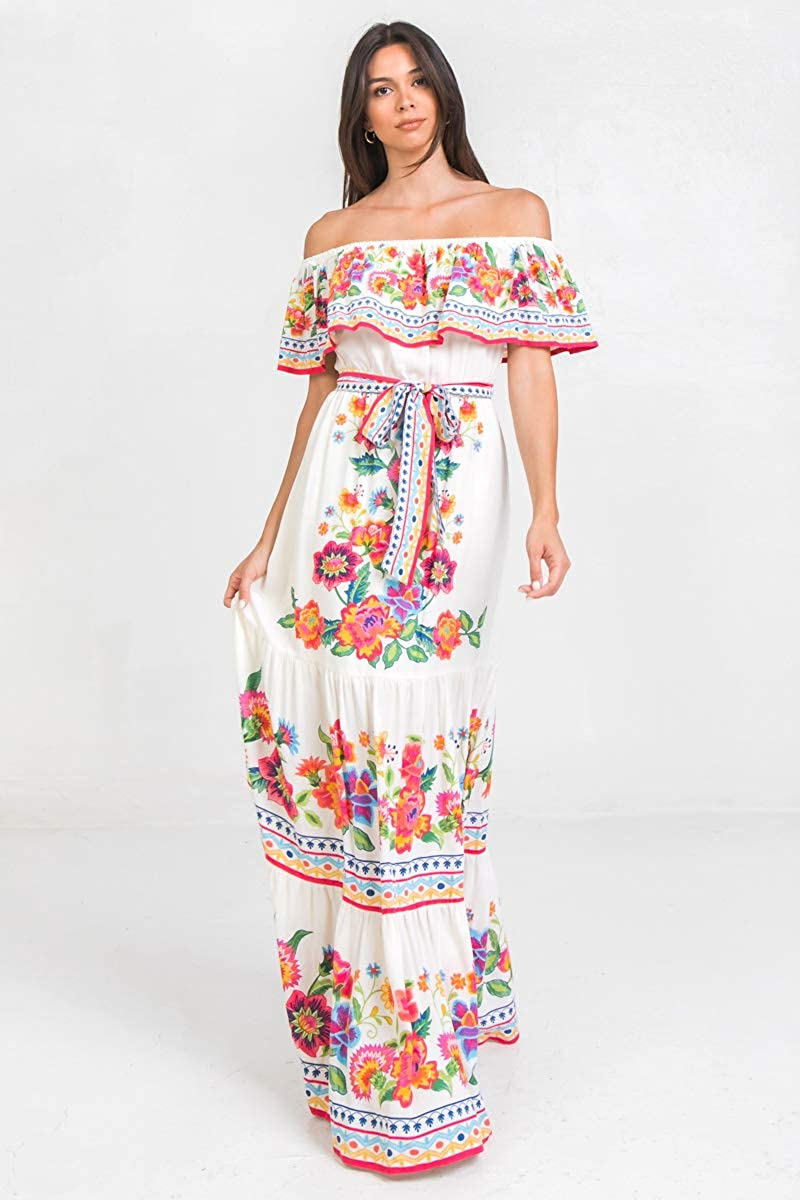 Flying Tomato Off Shoulder Bohemian Maxi Dress Off Shoulder Ethnic Floral Print Sundress with Waist Bow Tie