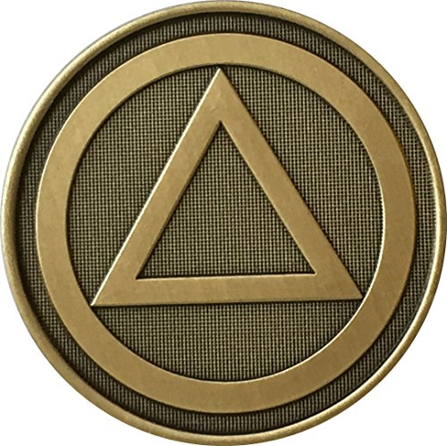 Circle Triangle Pain Is Necessary Suffering Is Optional AA Alcoholics Anonymous Sobriety Medallion Chip Bronze