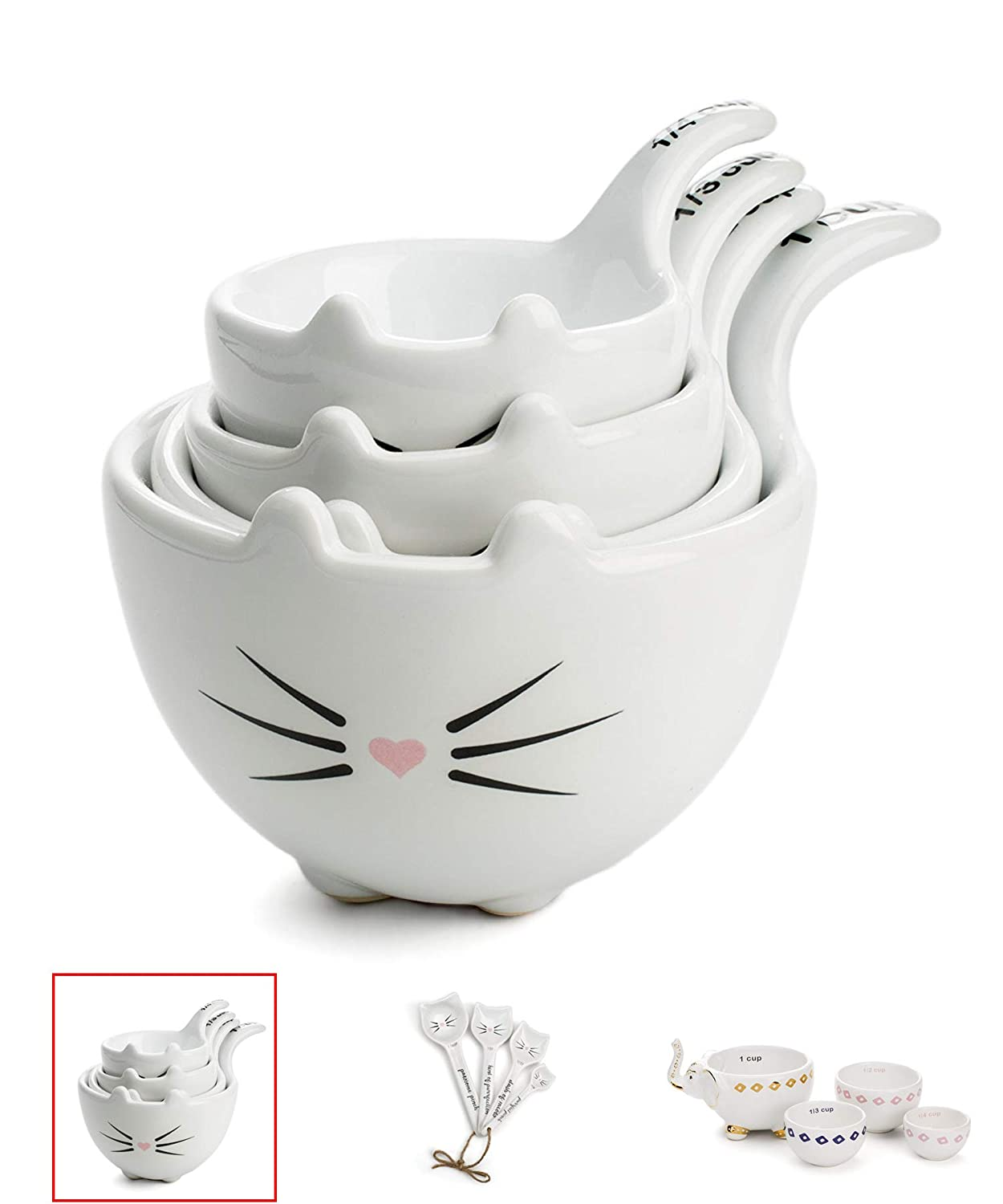 White Ceramic Cat Measuring Cups: Set of Cat Shaped Bowls - 1 Cup, 1/2 Cup, 1/3 Cup and 1/4 Cup