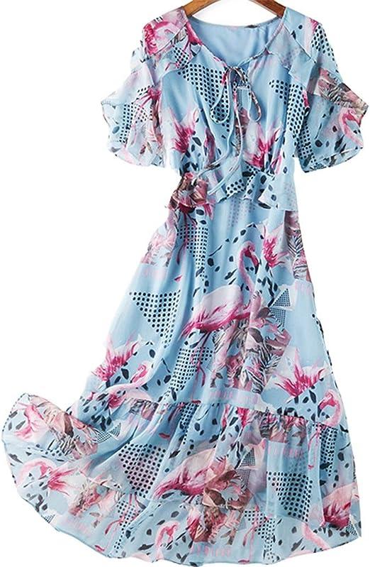 Vestido, Falda de Cola de pez con Volantes, Cuello en V 4 Tallas y ...