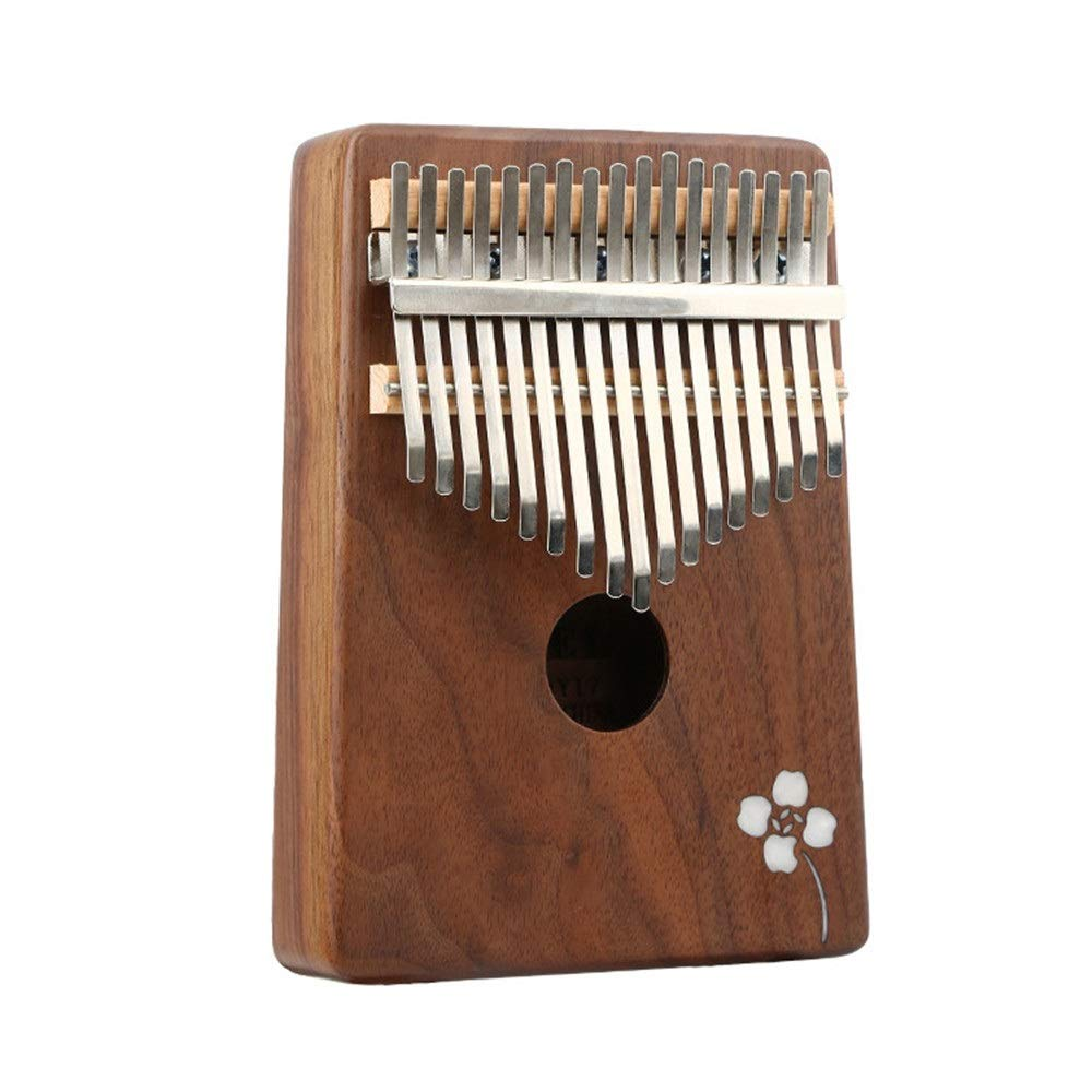 Simple Flowers Carving Natural Wood Thumb Piano 17 Keys Kalimba Standard C Tune Finger Piano Metal Engraved Notation Tines with Tuning Hammer Pickup Carry Bag Kids Musical Instrument Gifts by TAESOUW-Musical